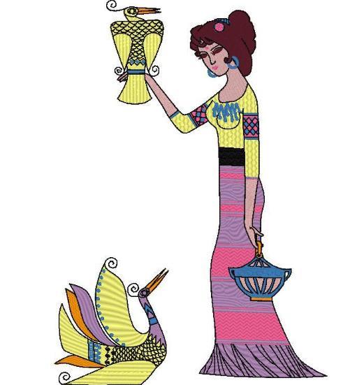 图片 给鸟喂食的女孩花样-田岛刺绣版带DST【使用权】