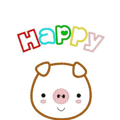 图片 HAPPY猪花样-田岛刺绣板带DST